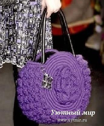 Цветная сумочка - рюкзак вязание крючком.