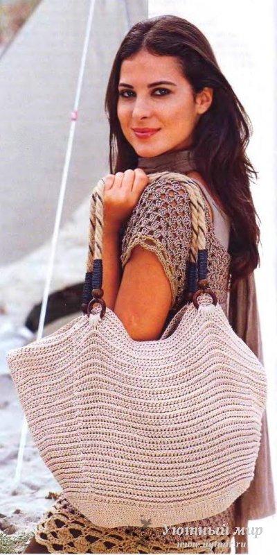 сумка, связанная крючком - вязание.