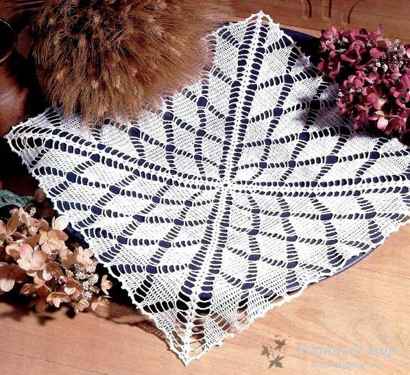 Вязание крючком салфетка с ромбами