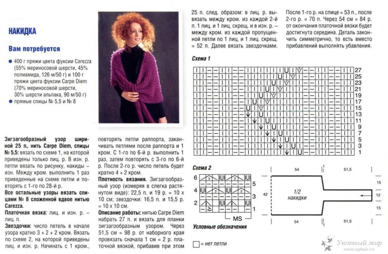 Схема для вязания накидки спицами